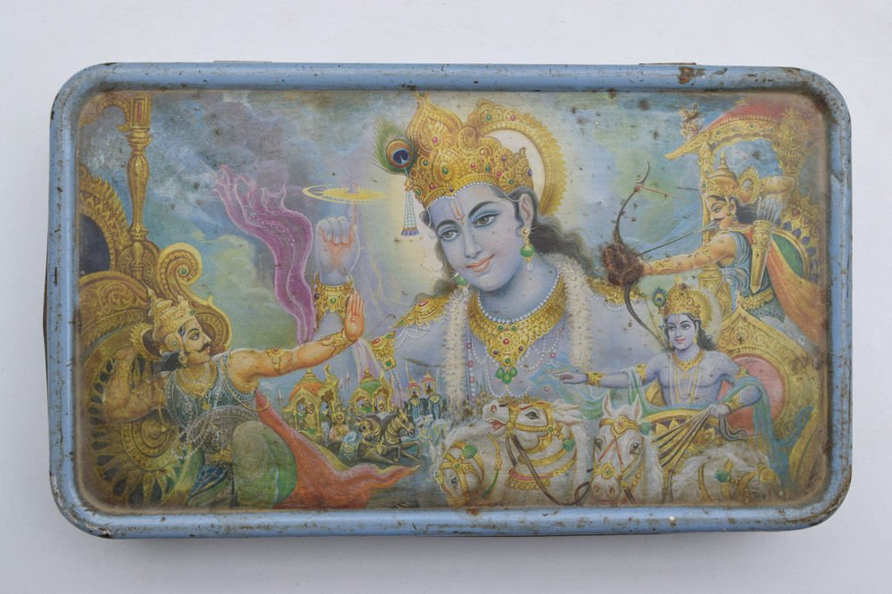 Old Sweets Tin Box, Rare Collectible Litho Printed Tin Boxes India #1458