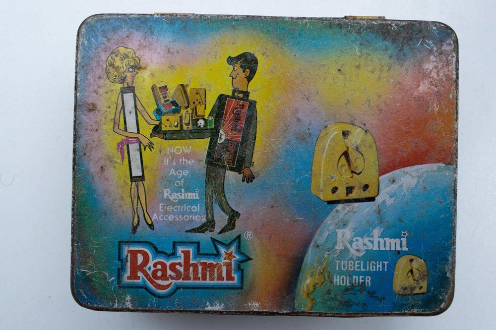 Old Sweets Tin Box, Rare Collectible Litho Printed Tin Boxes India #1489