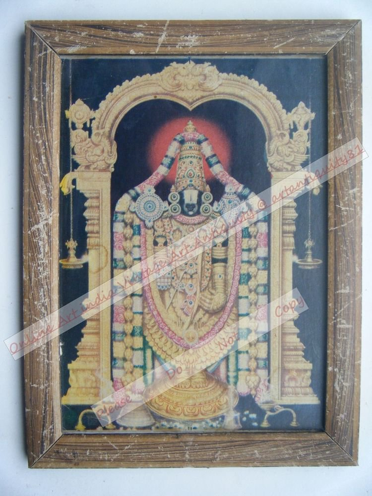 Shrinathji Krishna Avatar Vitthal God Old Print in Old Wooden Frame India #2545