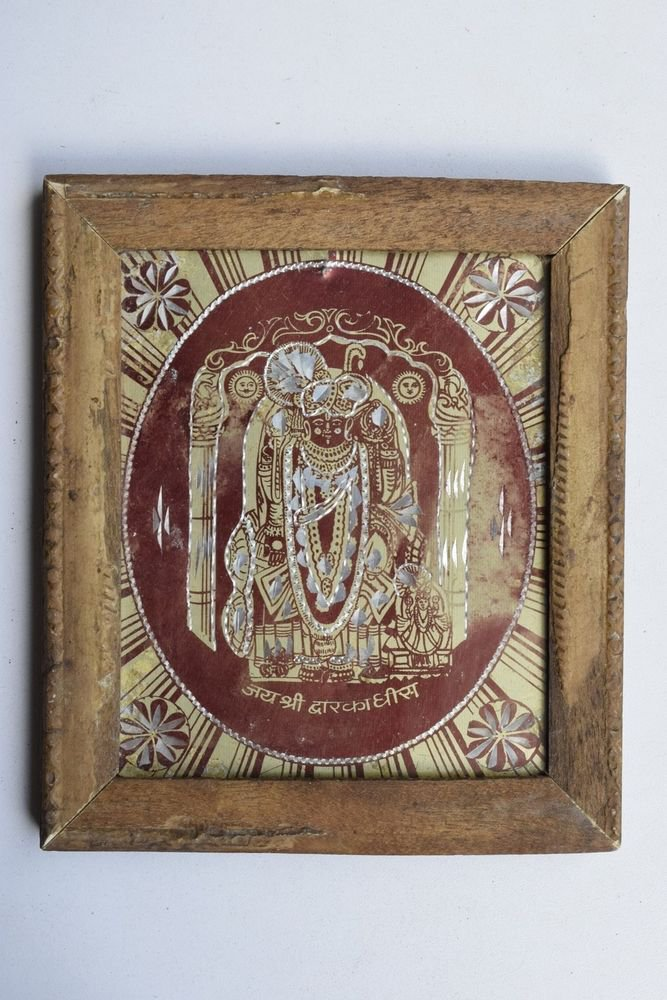 Krishna Avatar Dwaarkadhessh Rare God Old Print in Old Wooden Frame India #3228