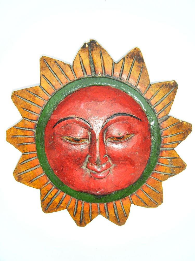 Sun God Wooden Mask, Old Rare Hand Coloured Handmade Original Indian Mask  #1582