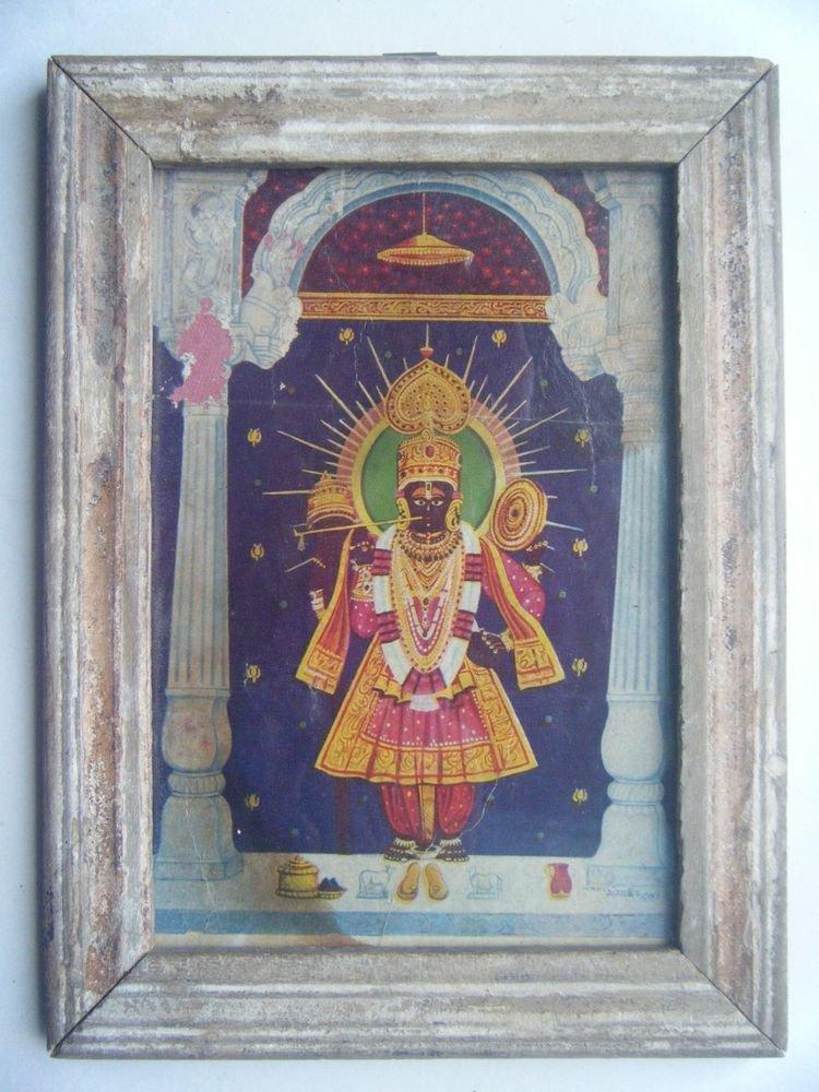 Shrinathji Krishna Avatar Vitthal Nath Old Print in Old Wooden Frame India #2754