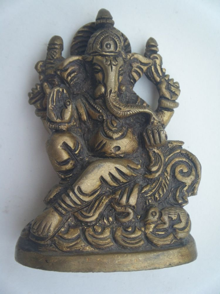 Collectible God GANESHA India Temple Worship Statue Brass Elephant God Small#725