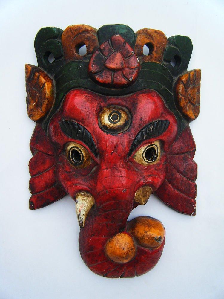 Ganesha Wooden Mask, Old Rare Hand Coloured Handmade Original Indian Mask  #1575