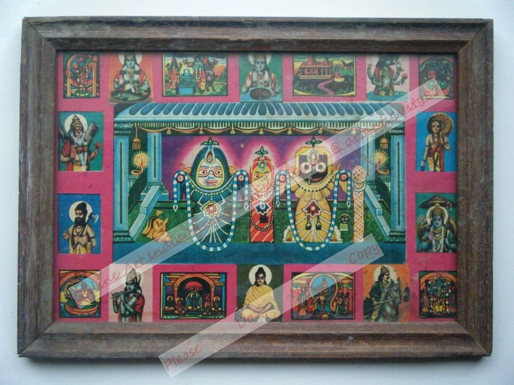 Rare Jagannath Puri Krishna Balraam Subhdra Original Old Print Orissa #2471