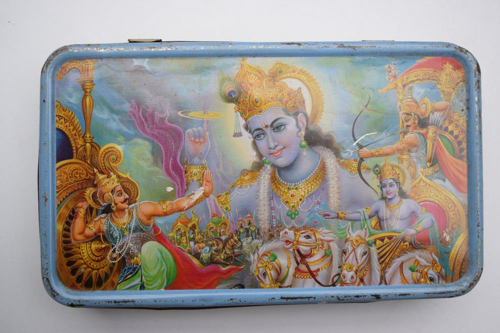 Old Sweets Tin Box, Rare Collectible Litho Printed Tin Boxes India #1433