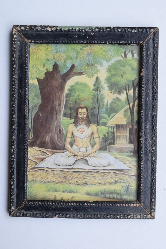 Sadhu Meditation Yoga Rare Collectible Old Print in Old Wooden Frame #3271