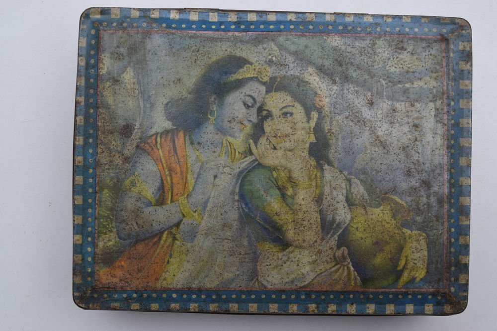 Old Sweets Tin Box, Rare Collectible Litho Printed Tin Boxes India #1447