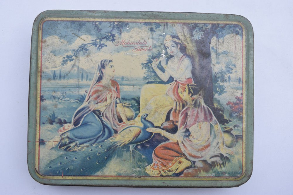 Old Sweets Tin Box, Rare Collectible Litho Printed Tin Boxes India #1448