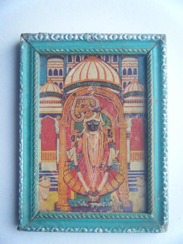 Hindu God Shrinathji Krishna Avatar Old Print in Old Wooden Frame India #2760