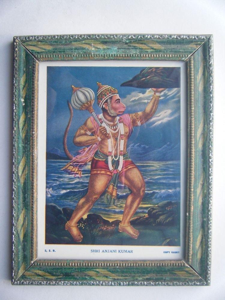 Lord Hanuman Rare Collectible Original Print in Old Wooden Frame India #2792