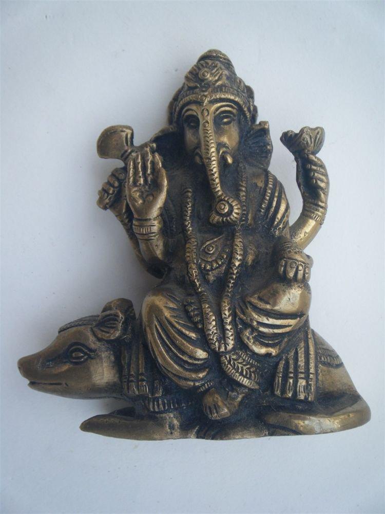 Antique Hindu God GANESHA Traditional Indian Statue Brass Elephant God Small#857