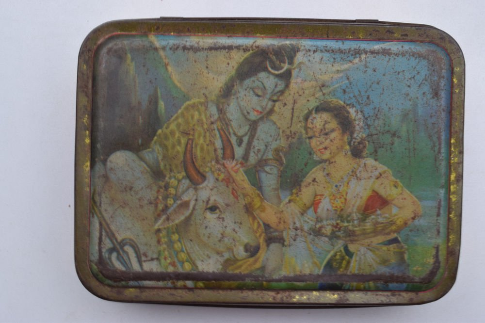Old Sweets Tin Box, Rare Collectible Litho Printed Tin Boxes India #1382