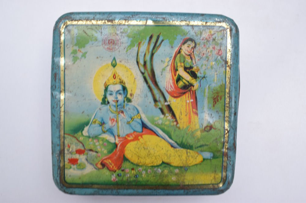 Old Sweets Tin Box, Rare Collectible Litho Printed Tin Boxes India #1418
