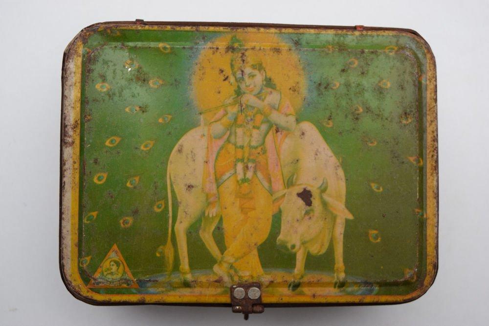 Old Sweets Tin Box, Rare Collectible Litho Printed Tin Boxes India #1424