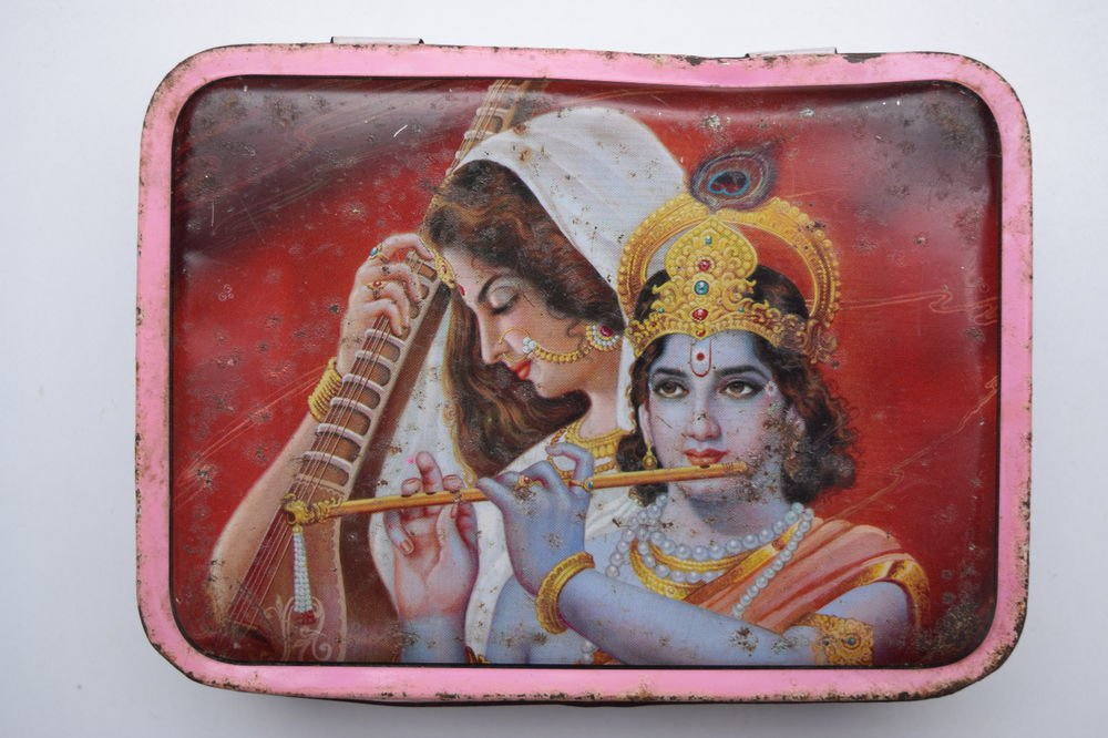 Old Sweets Tin Box, Rare Collectible Litho Printed Tin Boxes India #1427