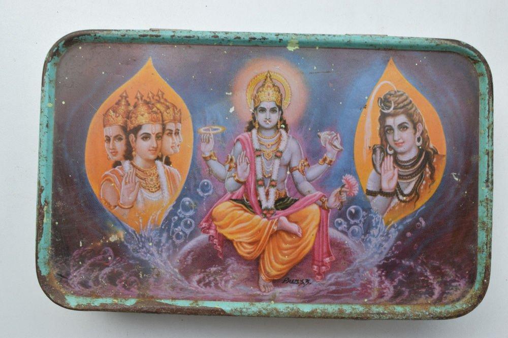 Old Sweets Tin Box, Rare Collectible Litho Printed Tin Boxes India #1364