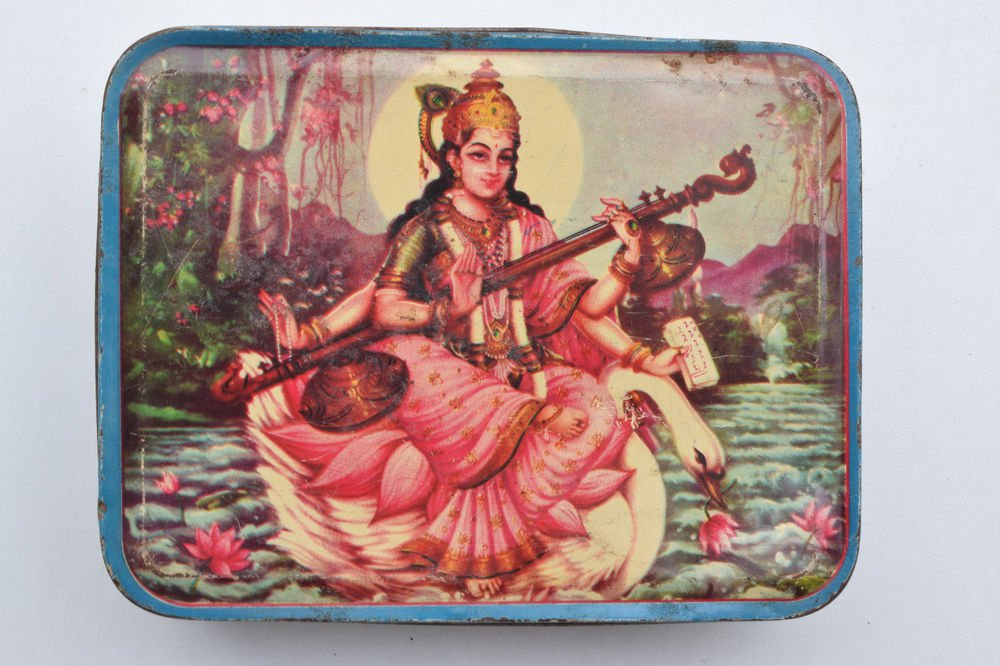 Old Sweets Tin Box, Rare Collectible Litho Printed Tin Boxes India #1377