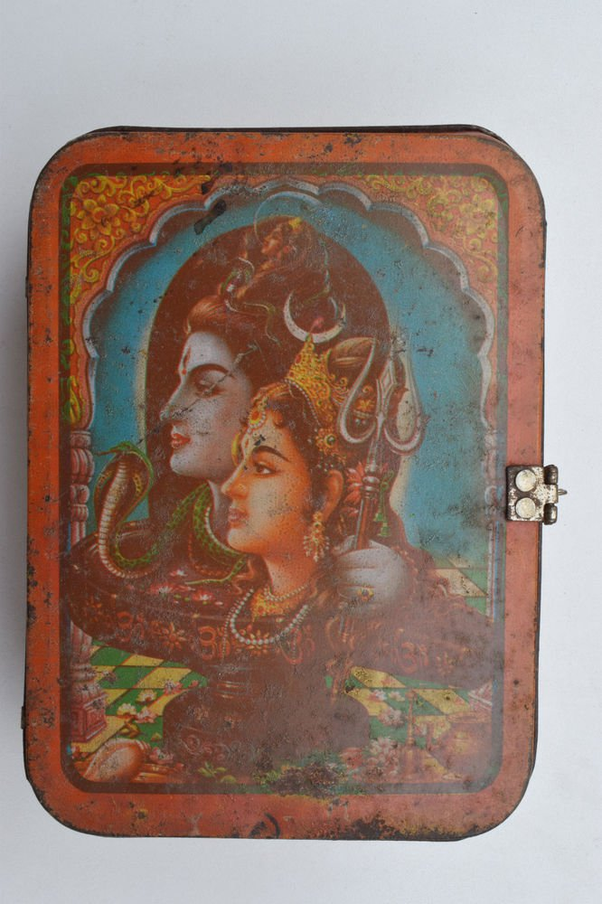 Old Sweets Tin Box, Rare Collectible Litho Printed Tin Boxes India #1378