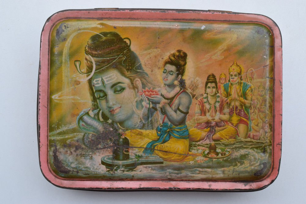 Old Sweets Tin Box, Rare Collectible Litho Printed Tin Boxes India #1383