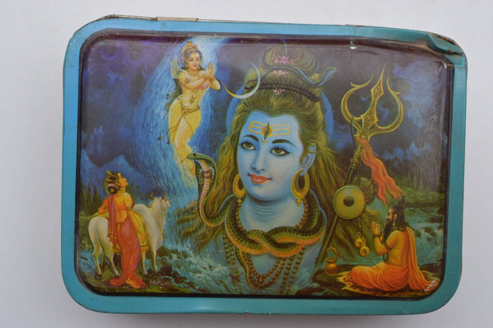 Old Sweets Tin Box, Rare Collectible Litho Printed Tin Boxes India #1384