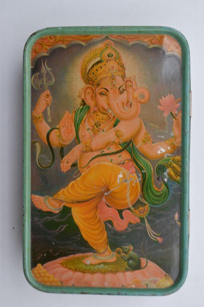 Old Sweets Tin Box, Rare Collectible Litho Printed Tin Boxes India #1395