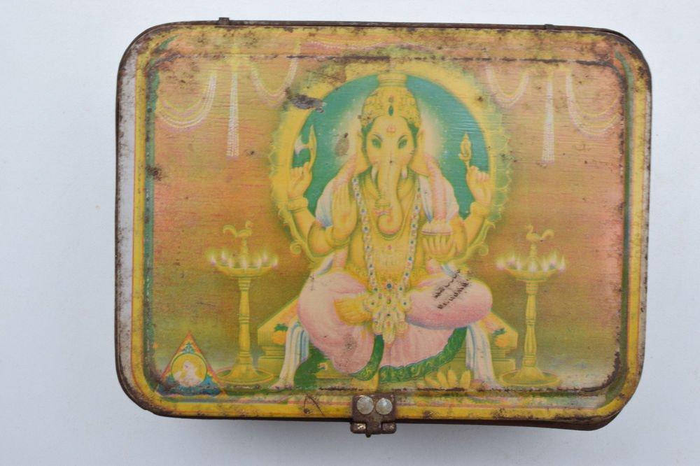 Old Sweets Tin Box, Rare Collectible Litho Printed Tin Boxes India #1397