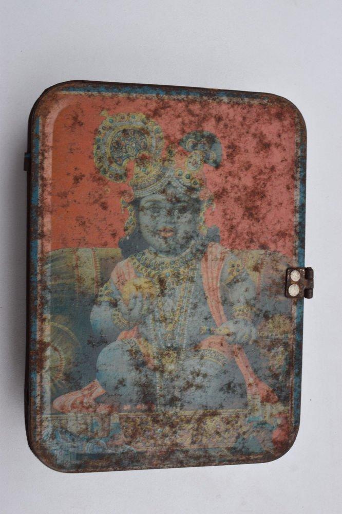 Old Sweets Tin Box, Rare Collectible Litho Printed Tin Boxes India #1419