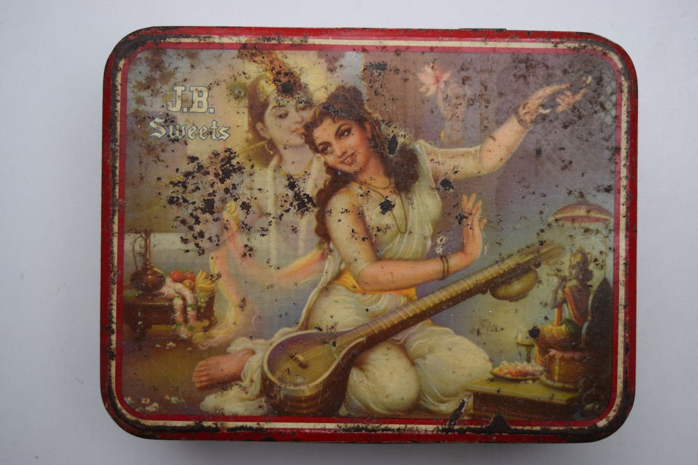 Old Sweets Tin Box, Rare Collectible Litho Printed Tin Boxes India #1426