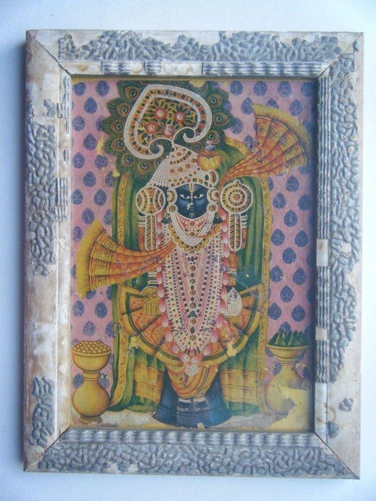 Hindu God Shrinathji Krishna Avatar Old Print in Old Wooden Frame India #2762