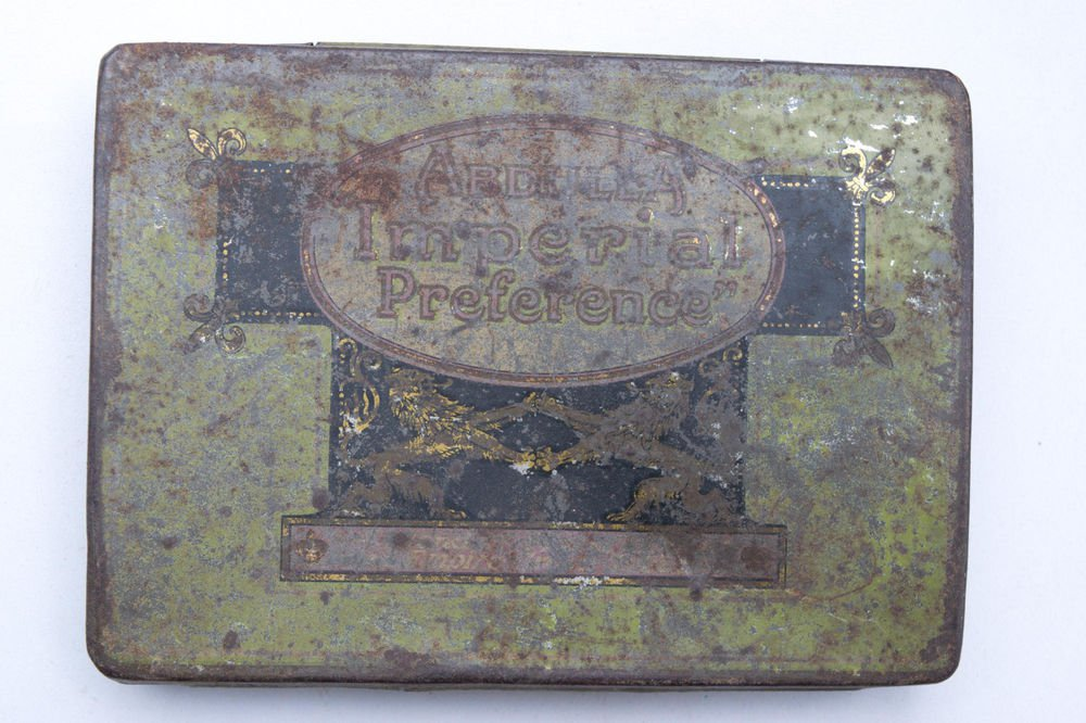 Old Sweets Tin Box, Rare Collectible Litho Printed Tin Boxes India #1492