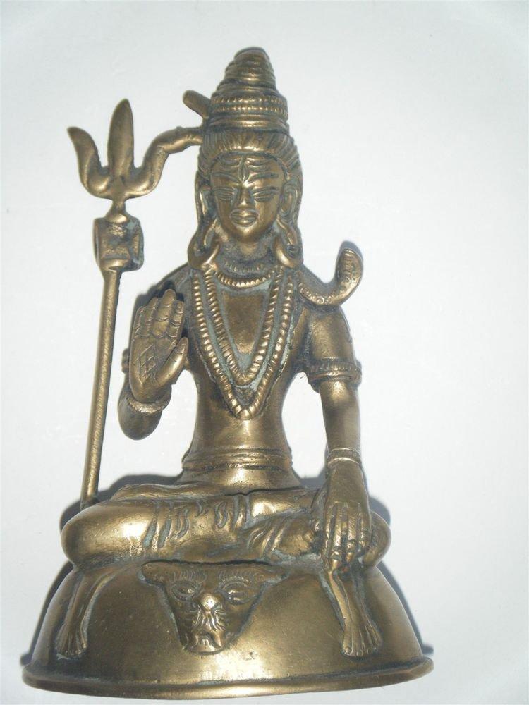 Brass Shiva Head Antique Statue Rare Collectible Artifact India Hindu God #878