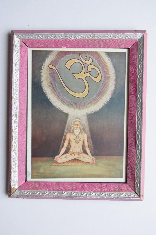Saint Meditation Rare Collectible Original Print in Old Wooden Frame India #3108