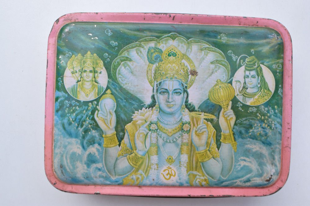 Old Sweets Tin Box, Rare Collectible Litho Printed Tin Boxes India #1363