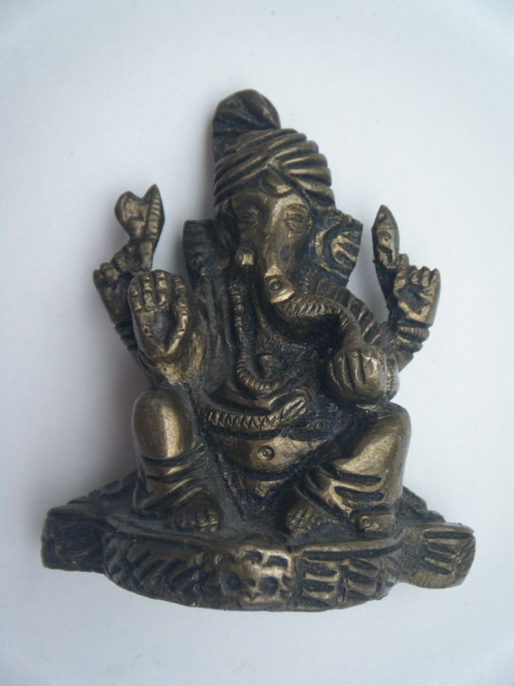Collectible God GANESHA India Temple Worship Statue Brass Elephant God Small#723
