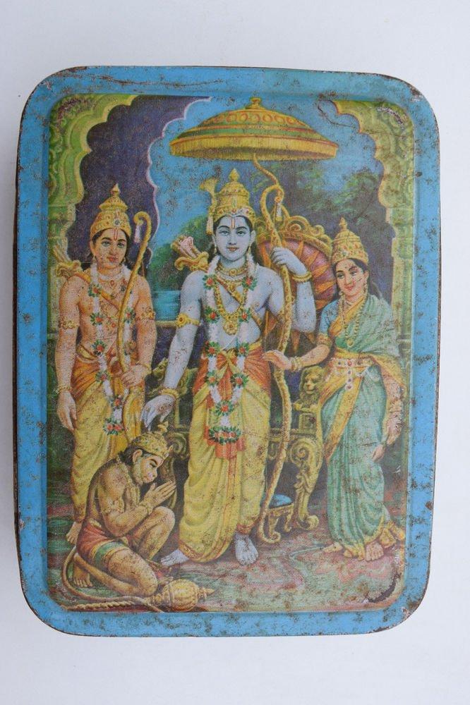 Old Sweets Tin Box, Rare Collectible Litho Printed Tin Boxes India #1350