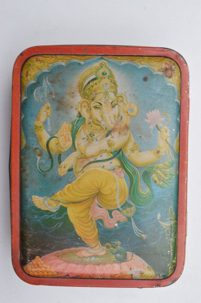 Old Sweets Tin Box, Rare Collectible Litho Printed Tin Boxes India #1403