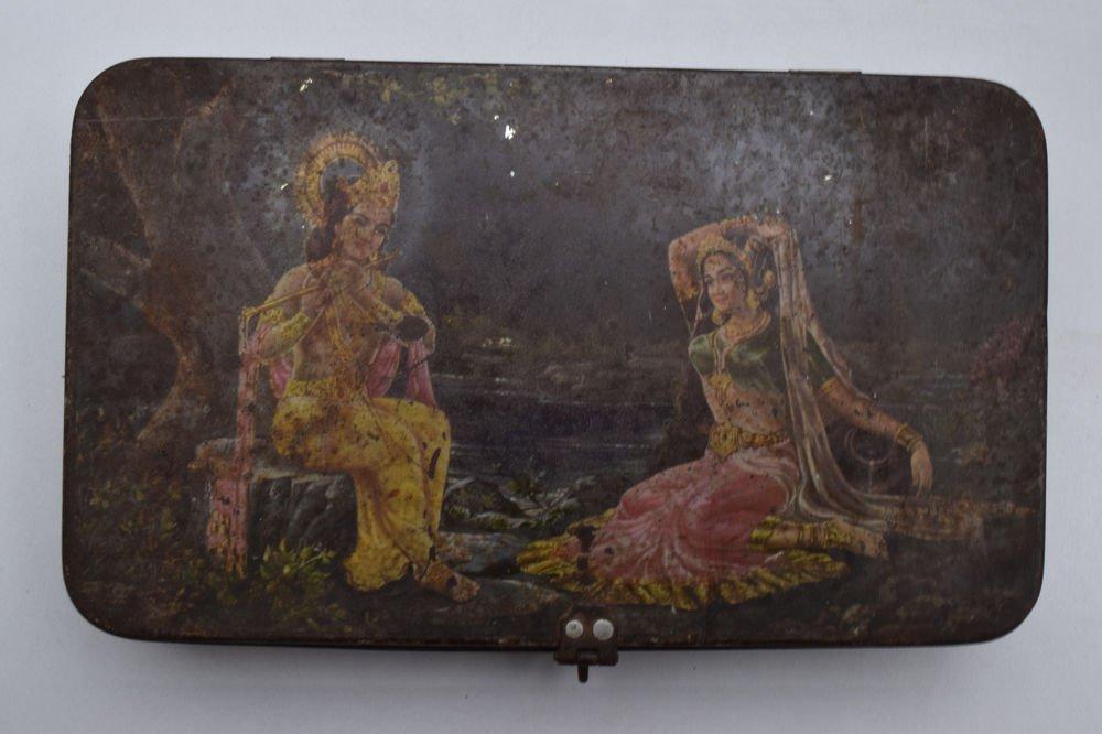 Old Sweets Tin Box, Rare Collectible Litho Printed Tin Boxes India #1415
