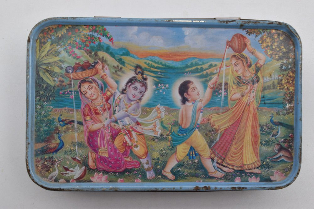 Old Sweets Tin Box, Rare Collectible Litho Printed Tin Boxes India #1417