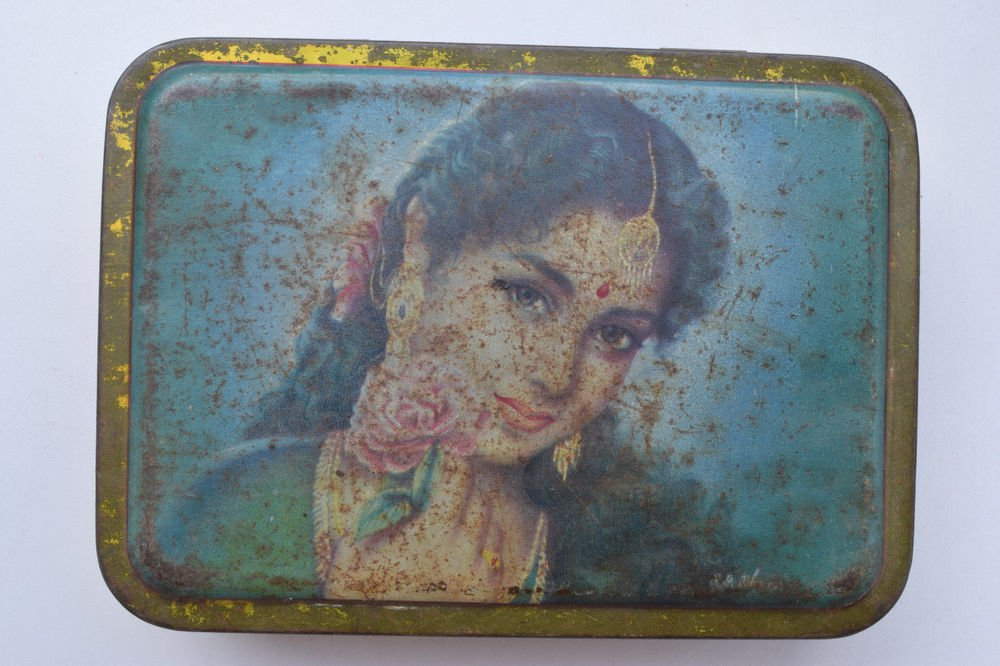Old Sweets Tin Box, Rare Collectible Litho Printed Tin Boxes India #1361
