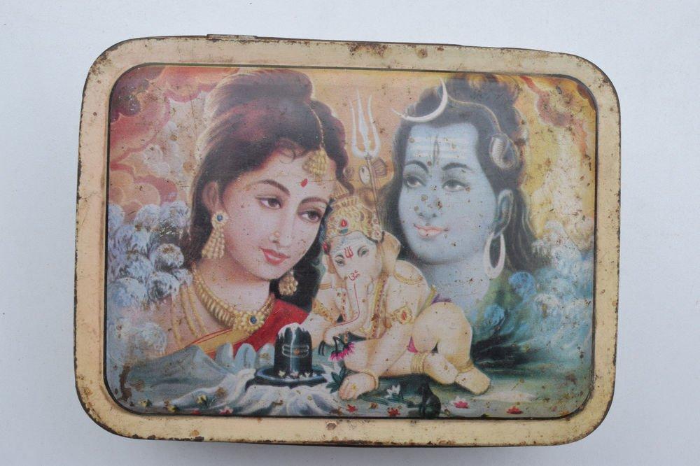 Old Sweets Tin Box, Rare Collectible Litho Printed Tin Boxes India #1381