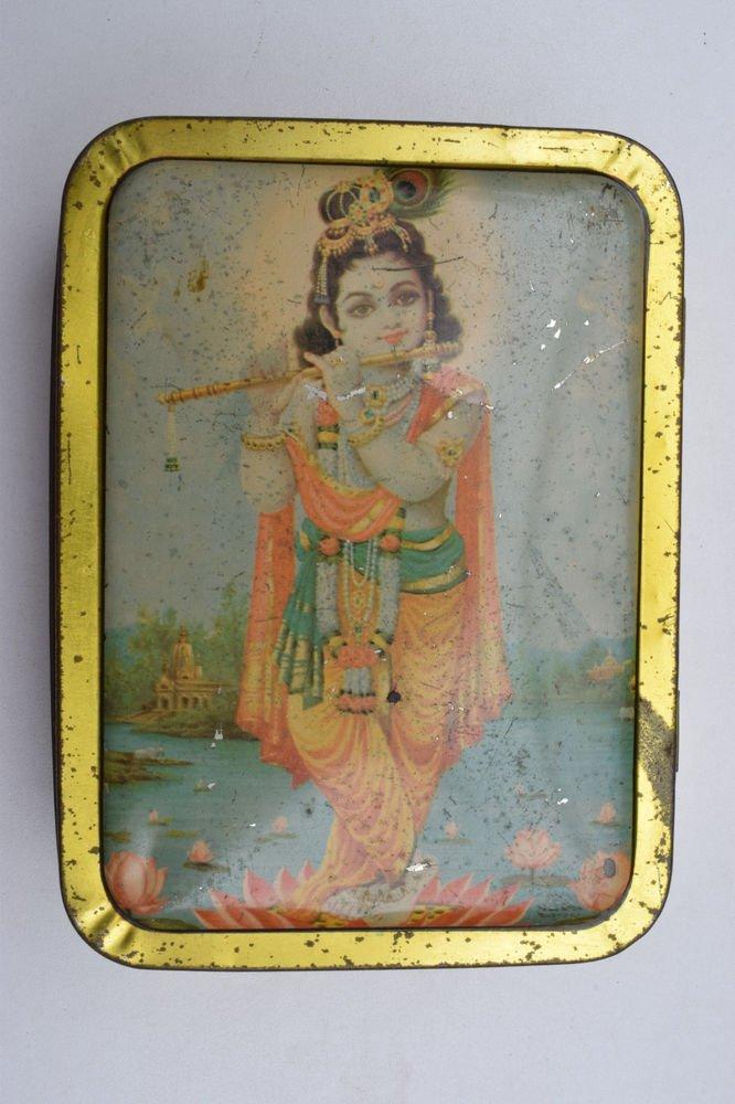 Old Sweets Tin Box, Rare Collectible Litho Printed Tin Boxes India #1420