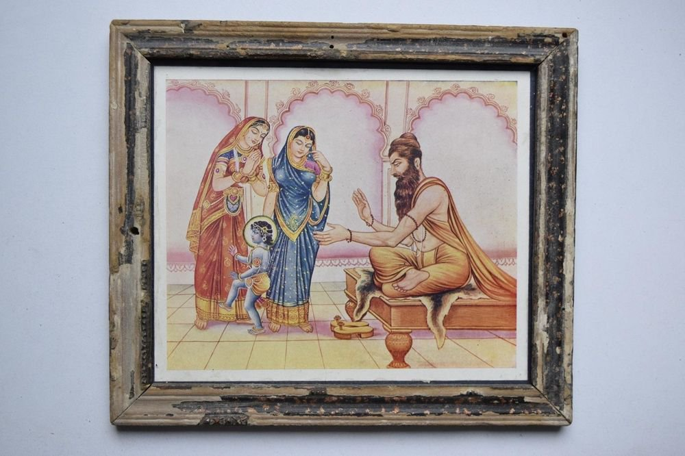 God Krishna Rare Collectible Old Religious Print in Old Wooden Frame #3198