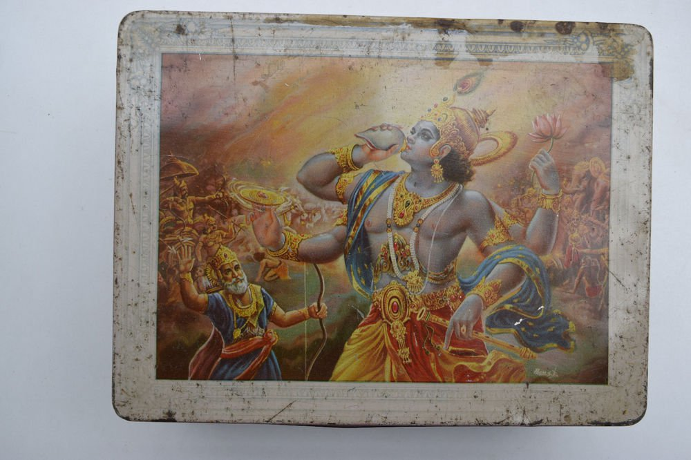 Old Sweets Tin Box, Rare Collectible Litho Printed Tin Boxes India #1460