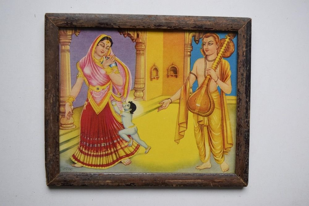 God Krishna Rare Collectible Old Religious Print in Old Wooden Frame #3197
