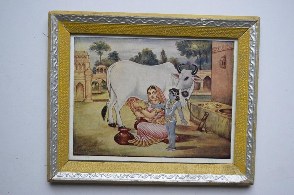 God Krishna Rare Collectible Old Religious Print in Old Wooden Frame #3199