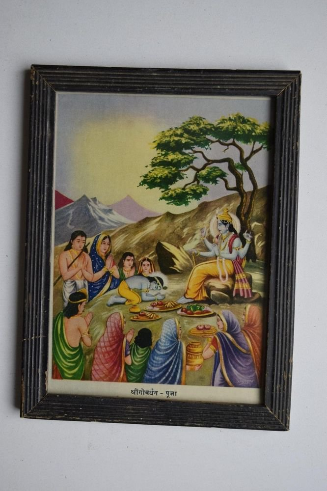 Hindu God Krishna Rare Collectible Old Religious Print in Old Wooden Frame #3163