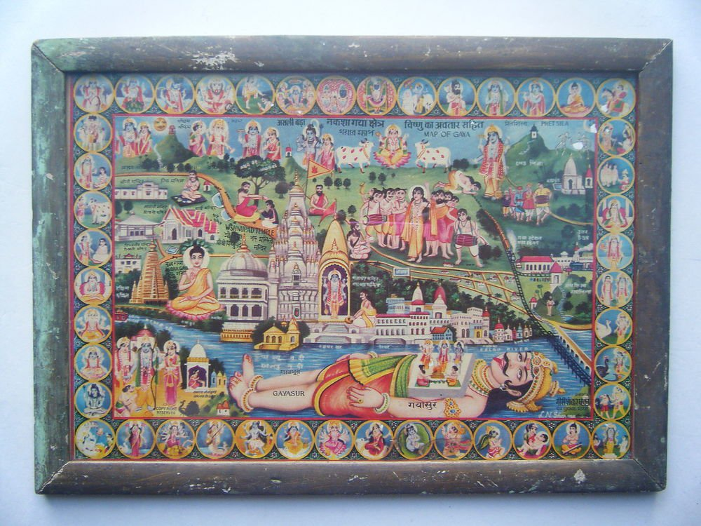 All Gods Gayasur Rare Collectible Original Print in Old Wooden Frame India #2796