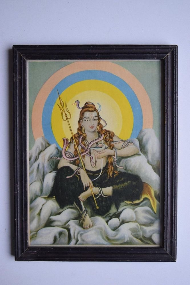 Hindu God Shiva Shiv Collectible Old Religious Print in Old Wooden Frame #3157