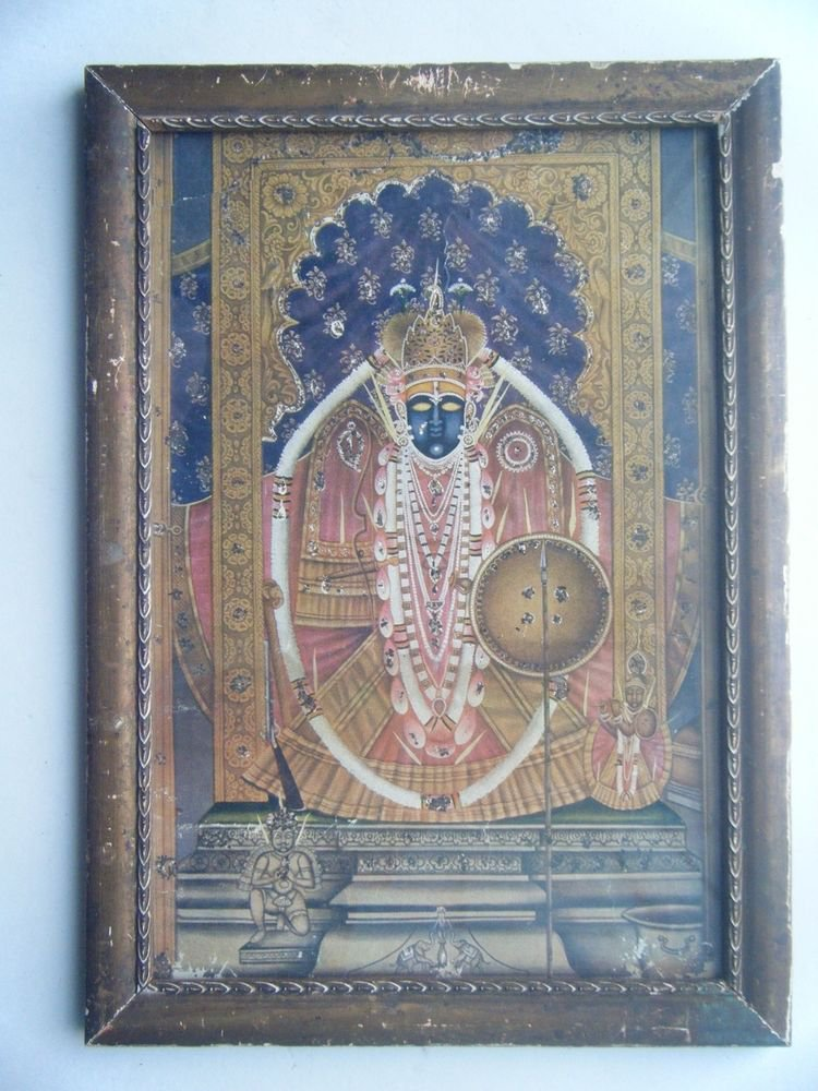 Hindu God Shrinathji Krishna Avatar Old Print in Old Wooden Frame India #2757